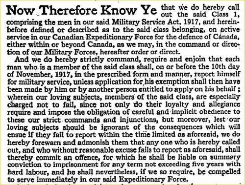 Royal Proclamation, October 1917  Class 1 Ordered to Report for Military Service