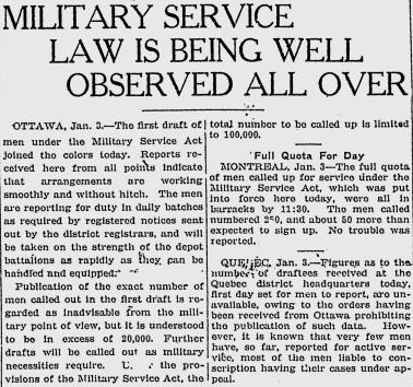Canada: First Call-Out of Conscripts – 3 January 1918